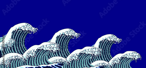 Fotografía Vector Illustration: Oriental Waves, Storm Picture, Traditional Oriental Art, Background Template, Blue Color, Sea Background