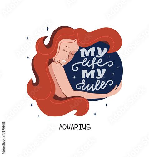 Fotografie, Obraz This is zodiac symbol - Aquarius and space girl