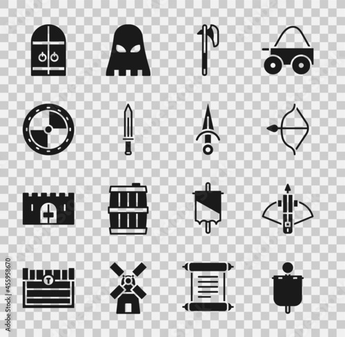 Fototapeta Set Medieval flag, Battle crossbow with arrow, and, axe, sword, Round wooden shield, castle gate and Dagger icon