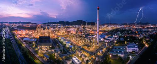 Fotografie, Obraz twilight cityscape panorama Oil and GAS refinery industry factory zone and stora