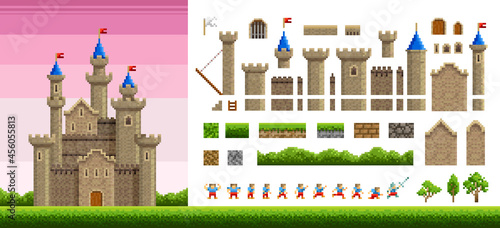 Fotografiet Pixel art castel or fortress design with animation character and park landscape elements