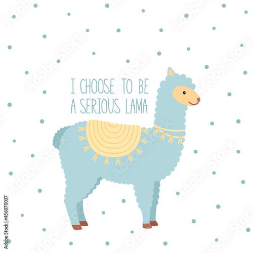 Fototapeta premium Cute serious lama. Baby animal concept illustration for nursery, vector illustration