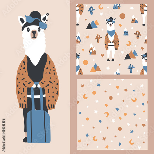 Fototapeta premium A set of vector cartoon seamless patterns with a llama with glasses and a hat. Background with moon and stars.For children's textile, baby shower, gift paper, greeting card, notebook, scrapbooking.
