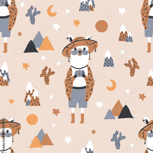 Fototapeta premium Funny cute seamless pattern with a llama in a hat against a background of mountains, cacti, and stars.Creative children's llama texture.For printing children's textiles, fabrics, decor, gift wrapping.