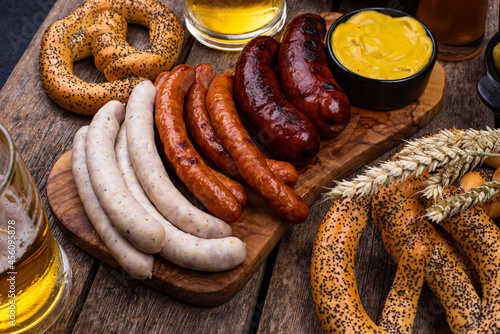 Wallpaper Mural Oktoberfest dishes with beer, pretzel and sausage