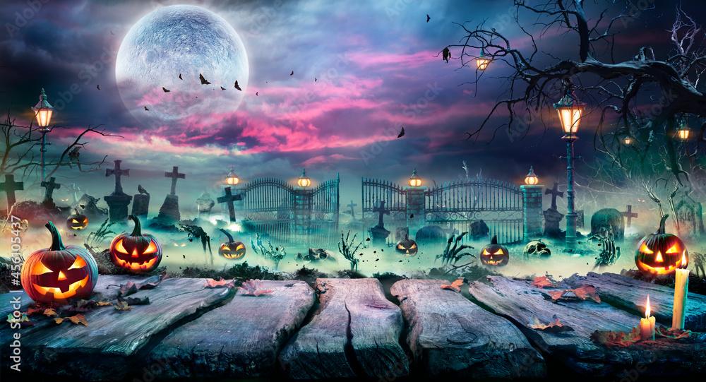 Leinwandbild Motiv - Romolo Tavani : Halloween Landscape - Table And Graveyard In Spooky Night