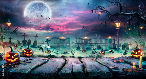 Halloween Landscape - Table And Graveyard In Spooky Night