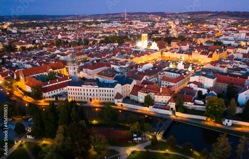 Obraz na plátně Aerial view of historic center of Ceske Budejovice overlooking large Ottokar II
