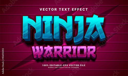 Photo Ninja warrior 3D text effect, editable text style