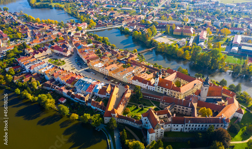 Obraz na plátně Top view from the drone on the city Telc. Czech Republic