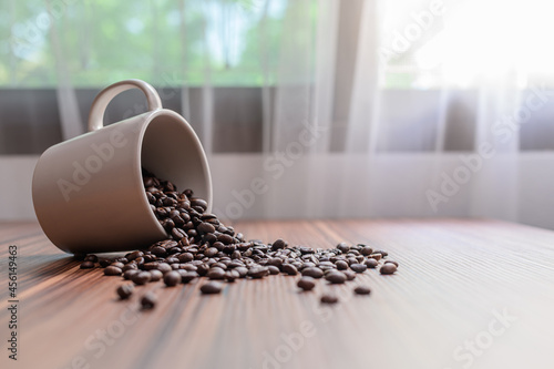 Fotografiet Coffee mugs and coffee beans to boost energy
