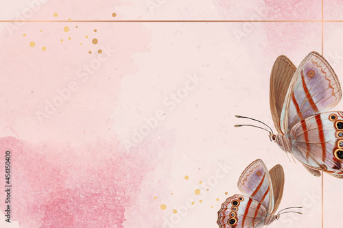Fotografiet Gold frame with pink butterfly patterned background vector