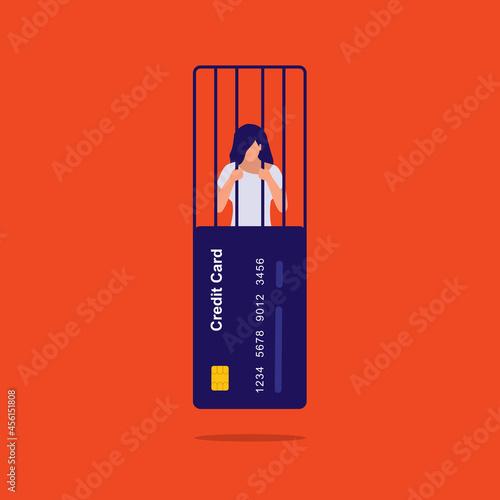 Fotografering Credit Card Debt Concept