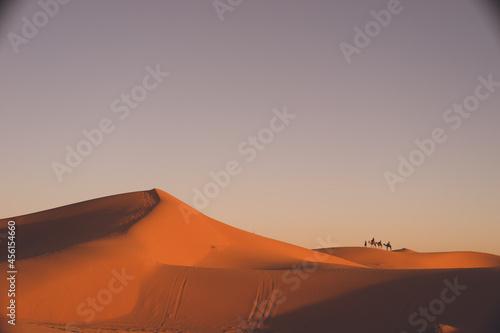 Obraz na plátně モロッコ メルズーガ サハラ砂漠砂丘の絶景