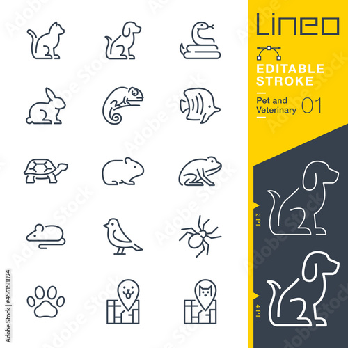 Fotografia Lineo Editable Stroke - Pet and Veterinary line icons