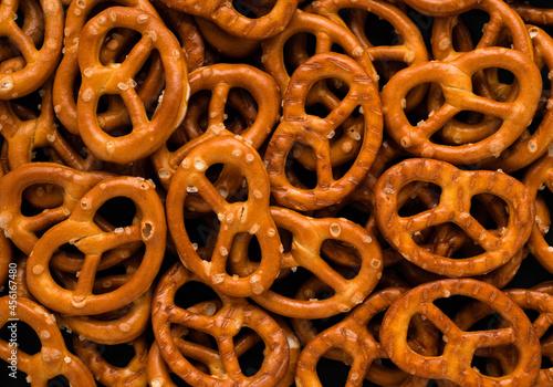Obraz na plátně Abstract pretzel snack texture background