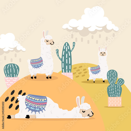 Fototapeta premium Cute llama and alpaca with cactus