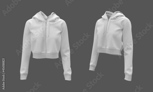 Fotografija Blank cropped hooded sweatshirt mockup with zipper in front and side views, 3d r