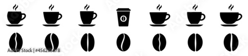 Fotografiet Coffee cup icon set. Coffee bean icon. Vector illustration