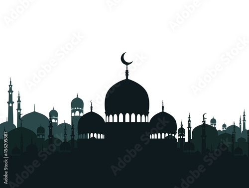 Fotografie, Obraz black and white silhouettes of mosque