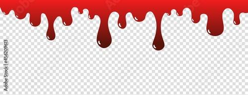 Billede på lærred Drip blood. Ink paint splatter halloween concept. Bloody concept