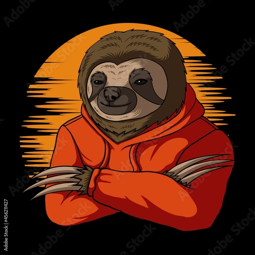 Fototapeta premium Stylish sloth vector illustration