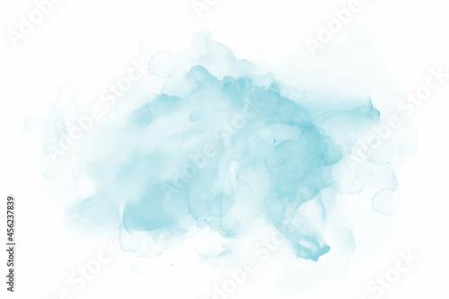 Obraz na plátně Blue watercolor brush paint vector stylized striped card