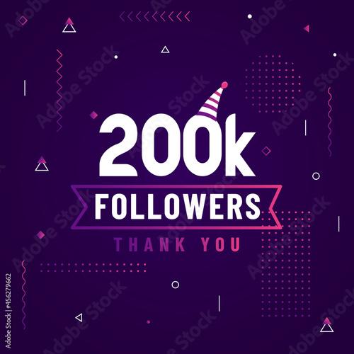 Obraz na plátně Thank you 200K followers, 200000 followers celebration modern colorful design