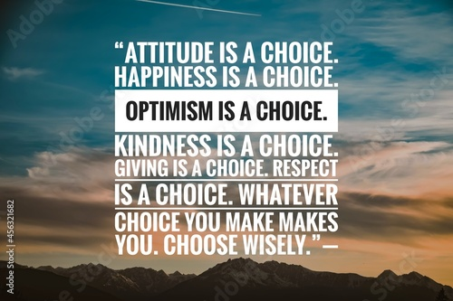 Fotografia Success quote about life with nature background, Attitude is a choice