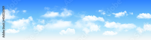 Fotografie, Obraz Sunny day background panorama, blue sky with white cumulus clouds, natural summer or spring background with perfect hot day weather, vector illustration