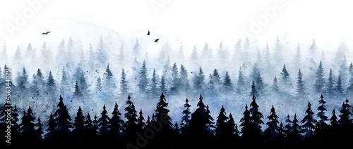 Fotografie, Obraz Seamless pattern with winter spruce forest