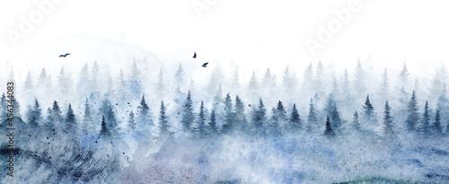 Obraz na plátně Seamless pattern with winter spruce forest