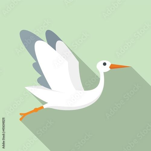 Fototapeta premium Born stork icon flat vector. Fly bird