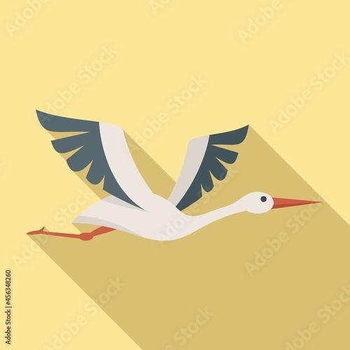 Fototapeta premium Cute stork icon flat vector. Heron bird