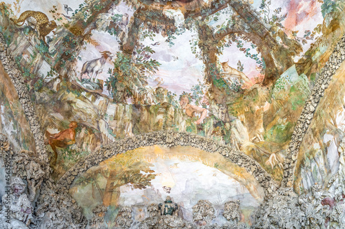Canvastavla The frescoed ceiling of the Buontalenti Grotto in Boboli Gardens, built in the 1