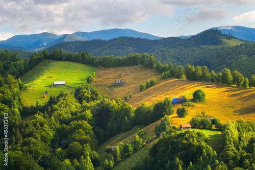 Farmland and farm houses on hillside in beautiful sunlight in transylvania Fototapet