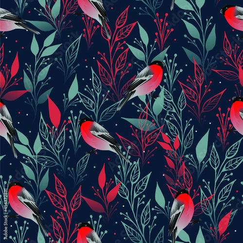 Fotografiet Seamless pattern with winter bullfinches