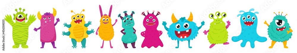 A set of cute monsters. Bright cartoon characters. Children's vector illustration. Flat style, isolated on a white background. - obrazy, fototapety, plakaty