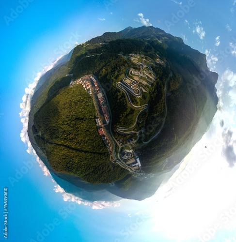Slika na platnu small planet aerial panorama of the Rosa Khutor resort in the Mzymta river valle