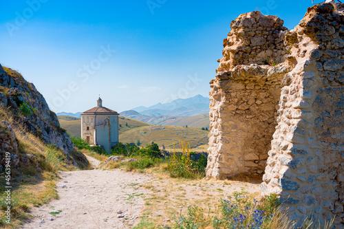 Fototapeta Santa Maria della Pieta church, near to castle of Rocca Calascio, Aquila, Abruzzo, Italy