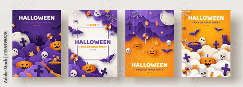 Fotografiet Happy Halloween party posters set with night clouds and pumpkins in paper cut style