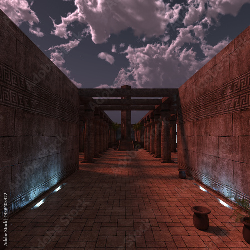 Fotografie, Obraz 3d-illustration of ancient fantasy temple catacombs background