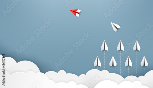 Fotografiet Paper plane are competition to destination up to the clouds and sky go to success goal