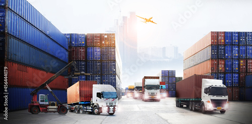 Double exposure of delivery industry and logistics concept container truck ,ship Fototapet
