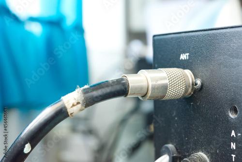 Fotografering Close up of line antenna to radio transceiver base station.