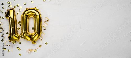 Fotografering golden foil balloon number ten