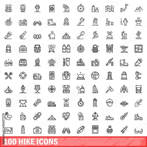 Obraz na plátně 100 hike icons set