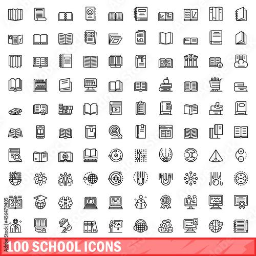 Fototapeta 100 school icons set