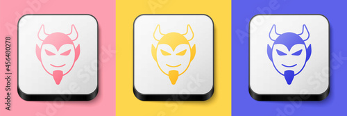 Isometric Devil head icon isolated on pink, yellow and blue background Fototapet