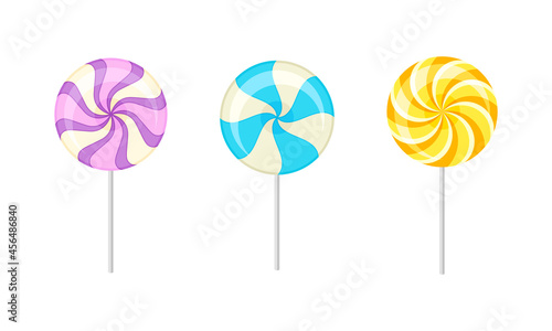 Fotografia Twisted and Swirling Lollipop on Stick as Sugar Candy for Sucking or Licking Vec